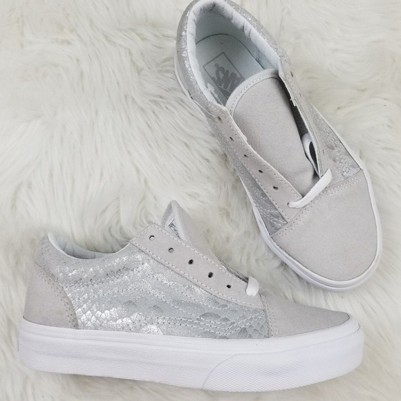 Vans Old Skool Silver Mermaid Girls SHoes 1.5 NWT